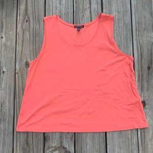 EILEEN FISHER Salmon 100% Silk Tank Top